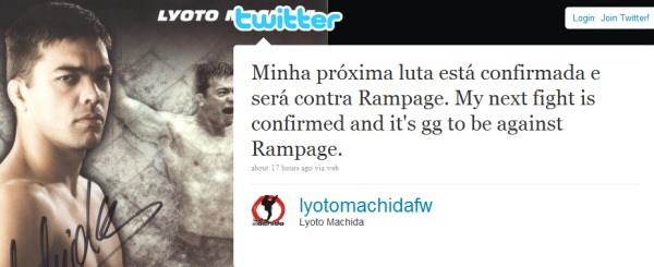 Machida vs Rampage Twitter