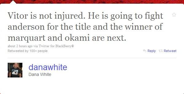 Dana White Twitter Vitor vs Silva